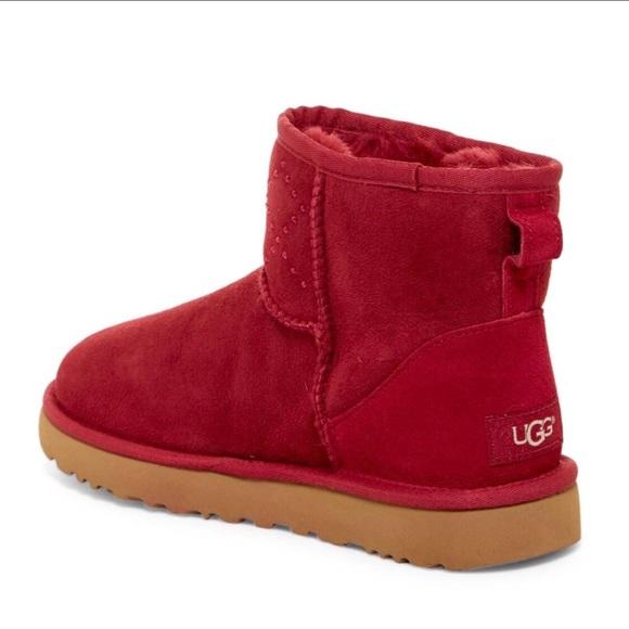 dd28911e716 NIB UGG Classic Mini Red Crystal Diamond Boots - 6 NWT